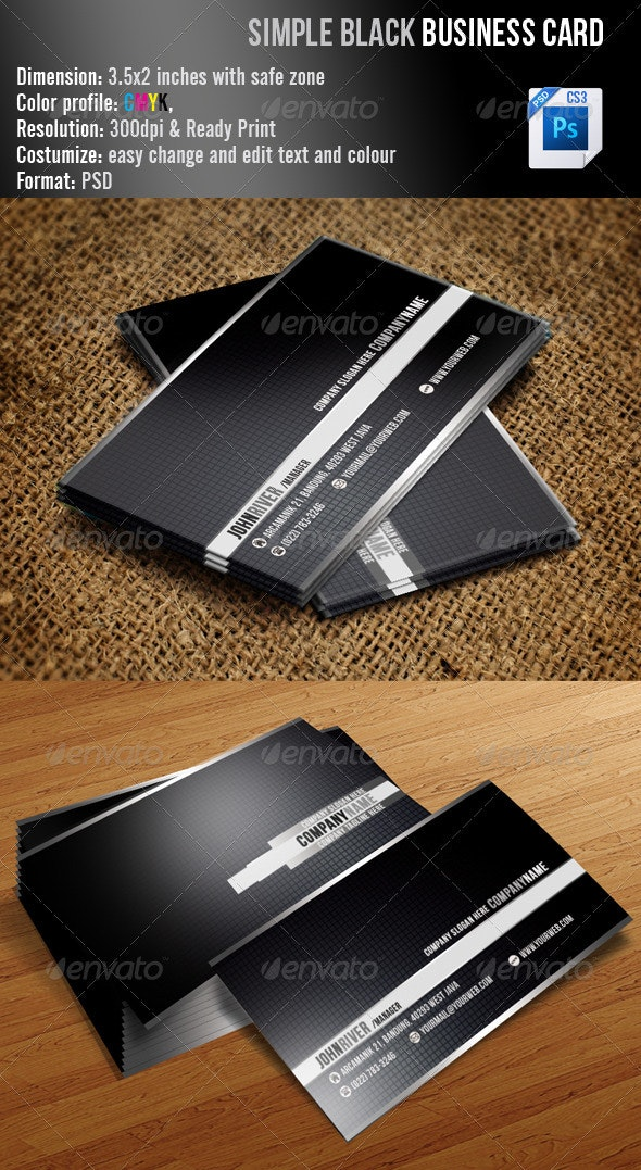 Simple Black Business Card - Corporate Business Cards