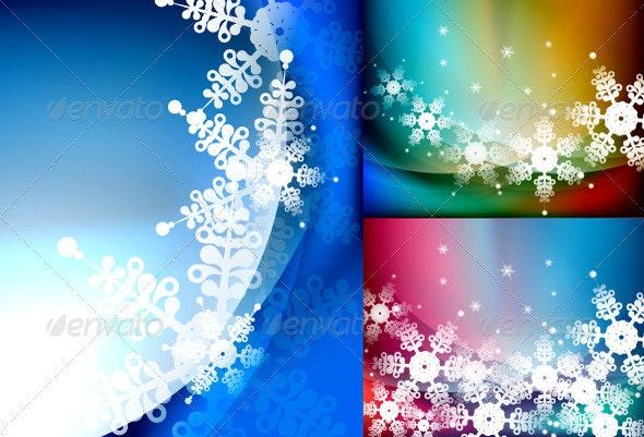 Vector Snowflakes Backgrounds - Christmas Seasons/Holidays