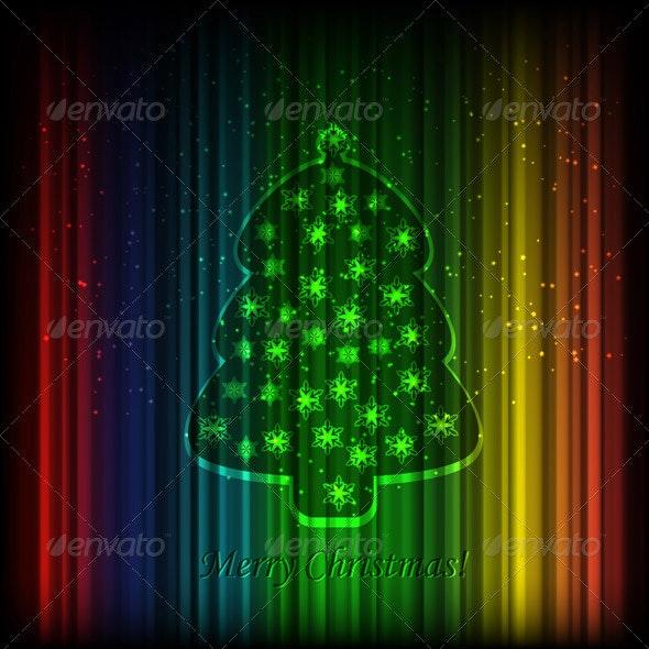 Vector Fir Tree on Shiny Background - Patterns Decorative