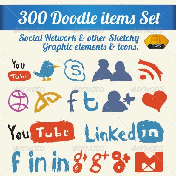 300 Doodle Items Set