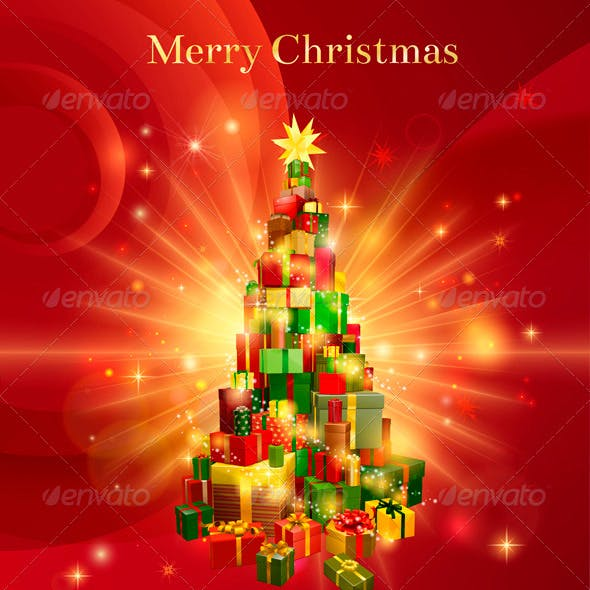 Red Merry Christmas Gift Tree Design