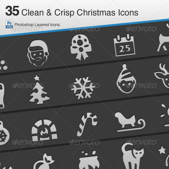 35 Clean & Crisp Christmas Icons