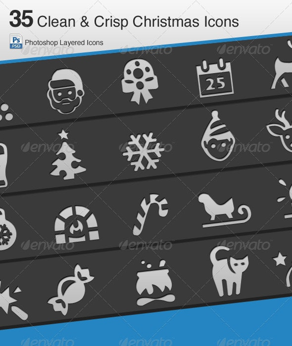 35 Clean & Crisp Christmas Icons - Miscellaneous Characters
