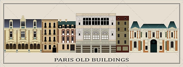 Six Old Parisian Buildings (Vector) - Buildings Objects
