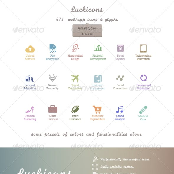 Luckicons - 579 handgrafted vectors icons | PSD...