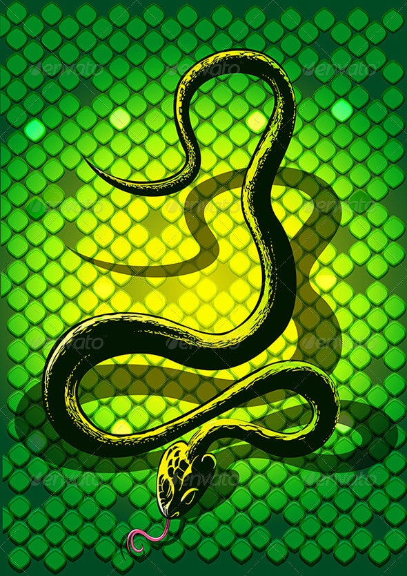 The Black Snake in Green - Animals Characters
