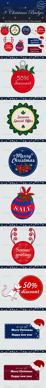 8 Christmas Badges - Badges & Stickers Web Elements
