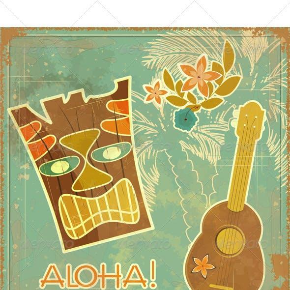 Retro Hawaiian postcard