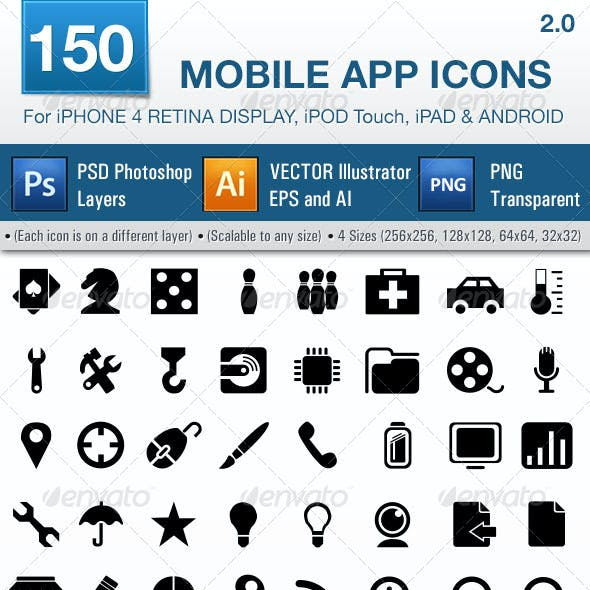 150 Mobile App Icons Pack 2