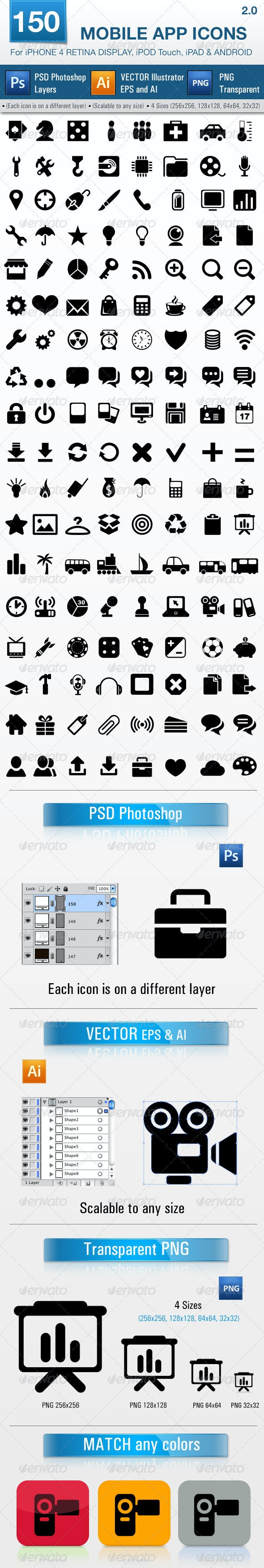 150 Mobile App Icons Pack 2 - Software Icons