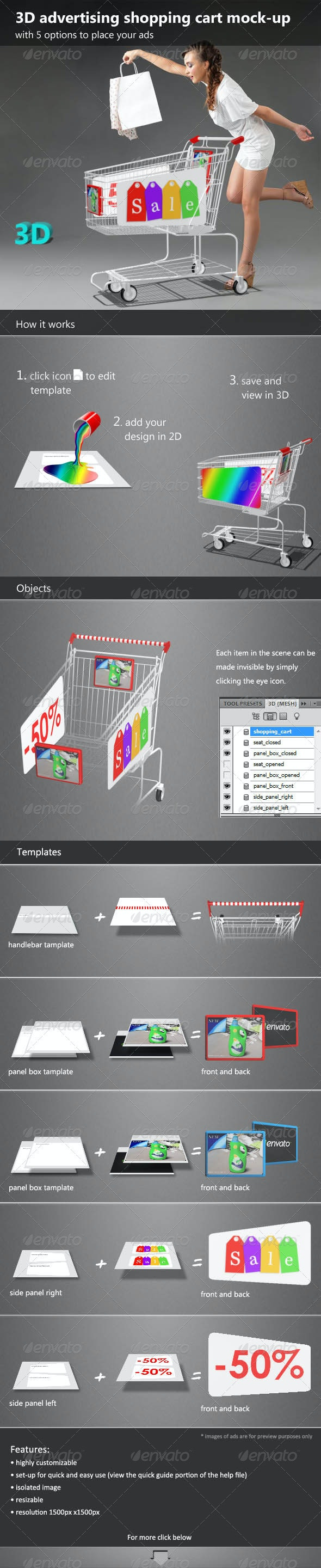 3D Advertising Shopping Cart Mock-up - Miscellaneous Product Mock-Ups