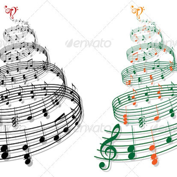 Christmas Tree With Music Notes, Vector