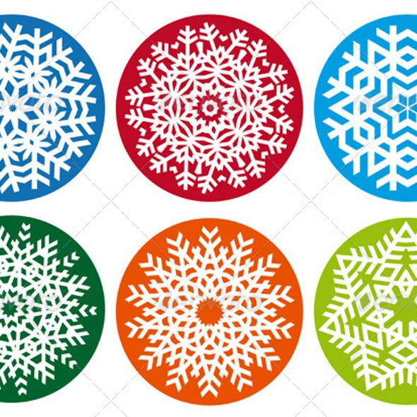 Snowflake Set, Vector Design Elements