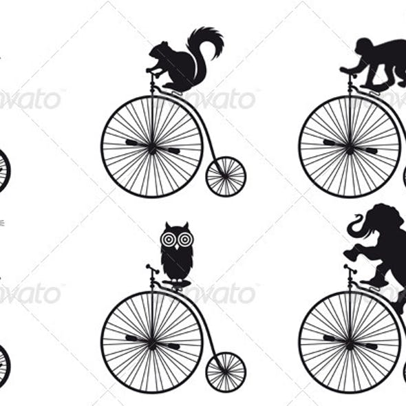 Old Bicycle With Animals, Vector