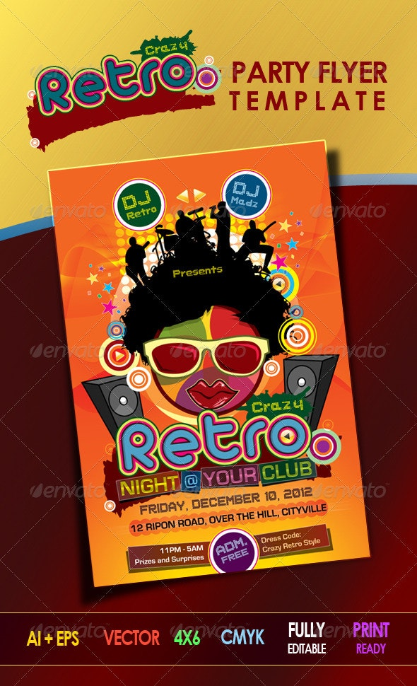 Crazy Retro Party Flyer Template - Clubs & Parties Events