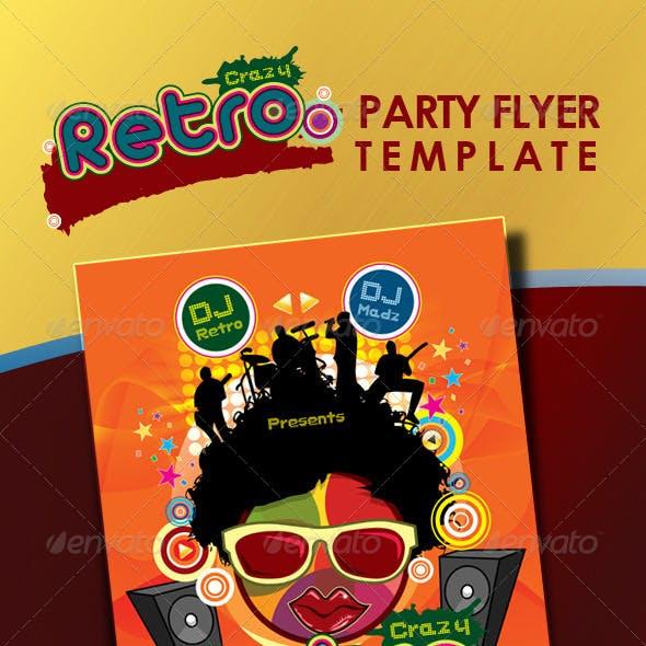 Crazy Retro Party Flyer Template
