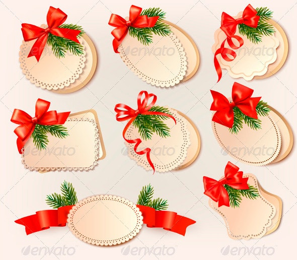 Christmas card with bow and christmas tree branche - Christmas Seasons/Holidays
