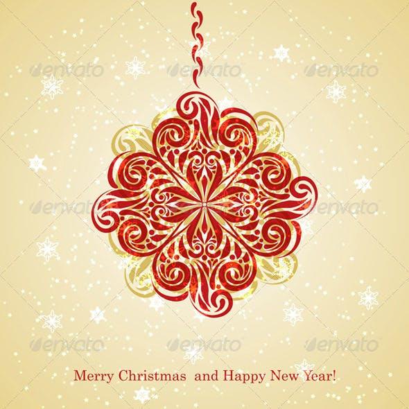 Vector Christmas Greeting Card with Fir Tree Ball
