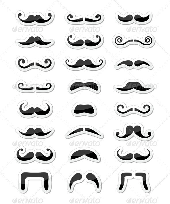 Moustache / mustache icons isolated set as labels - People Characters