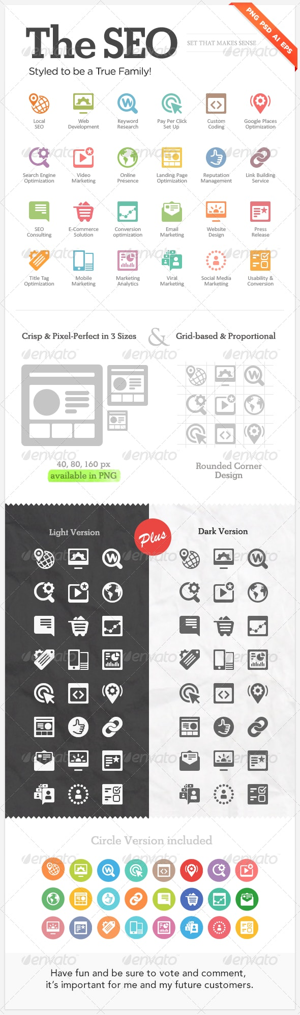 """Seo icons for web design """"The SEO"""" - Business Icons"""