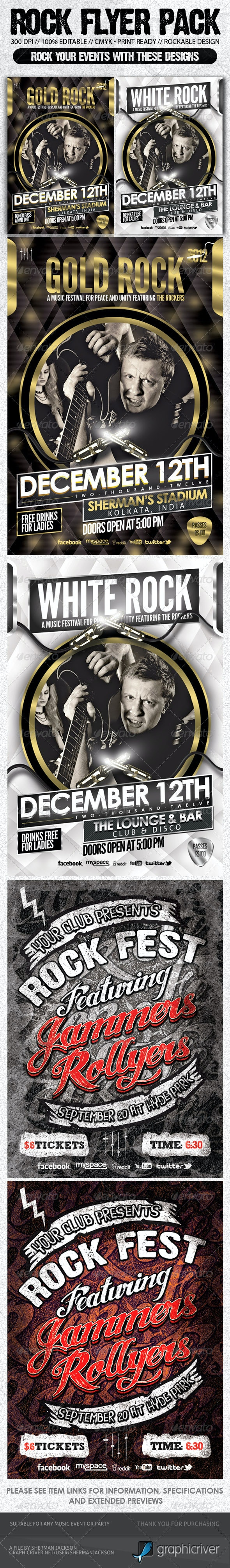 Rock Music Show Flyer Bundle Pack#2  - Concerts Events
