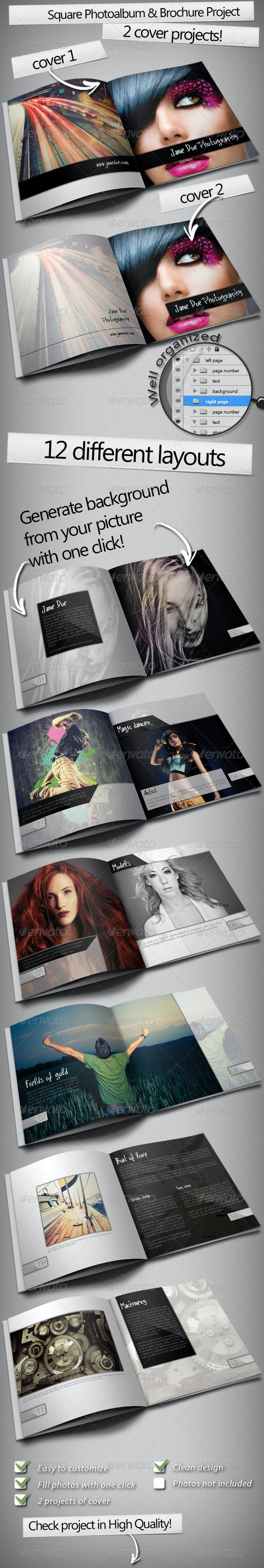 Square Photo Album & Brochure - Photo Albums Print Templates