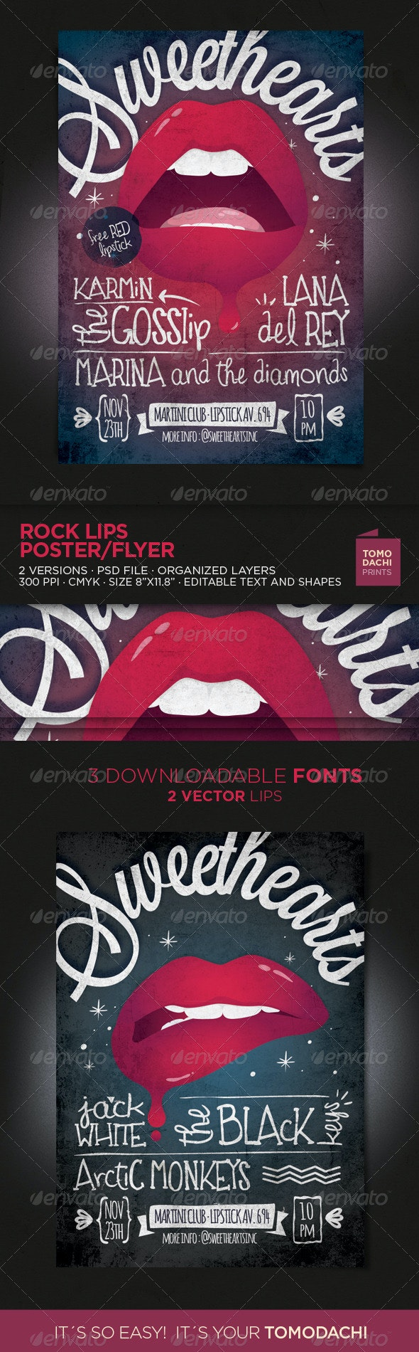 Rock Lips Flyer/Poster - Concerts Events