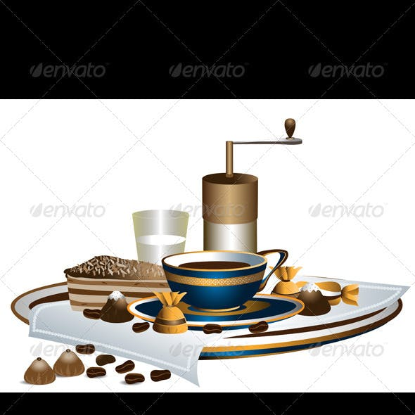 Freshly Ground Coffee with Chocolate and Cake
