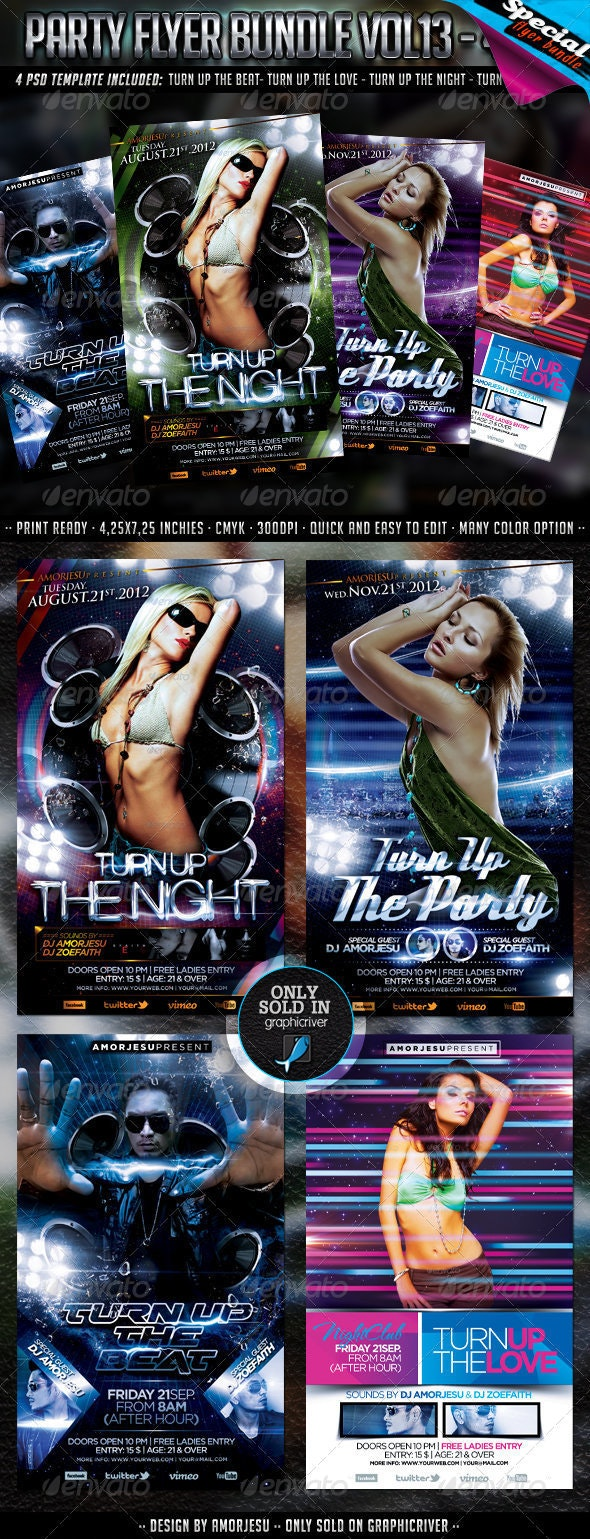 Party Flyer Bundle Vol13 - 4 in 1 - Clubs & Parties Events