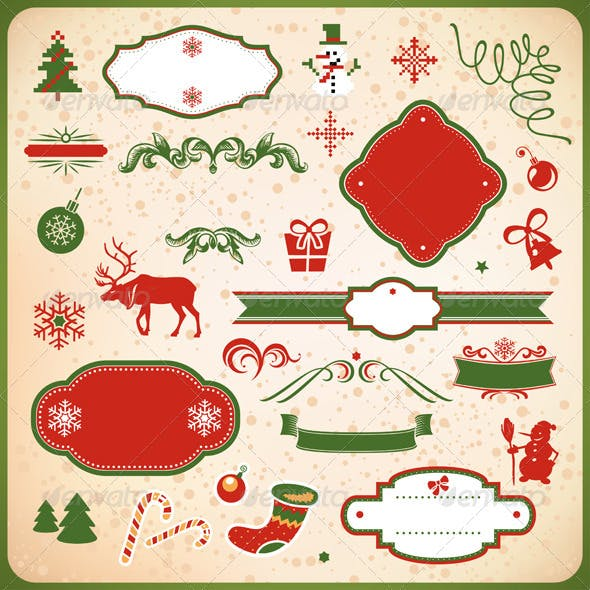 Collection of Christmas and New Year decoration el