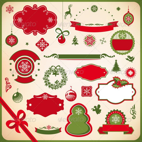 Collection of Christmas and New Year decoration