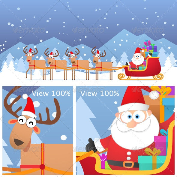 Santa and Christmas Reindeer on the Snow - Characters Illustrations
