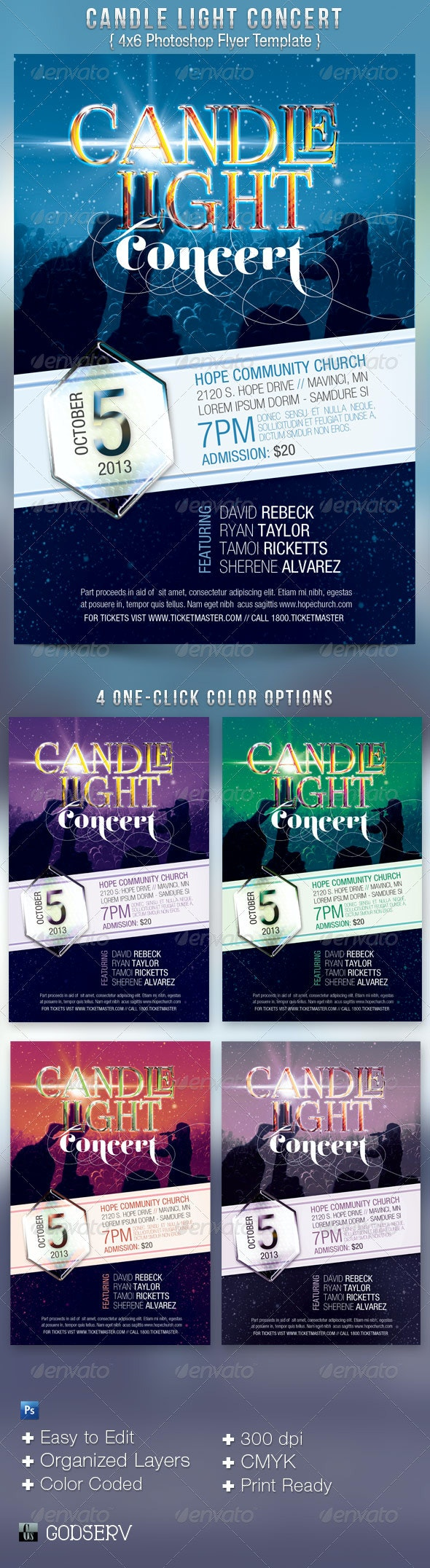 Candle Light Concert Flyer Template - Church Flyers