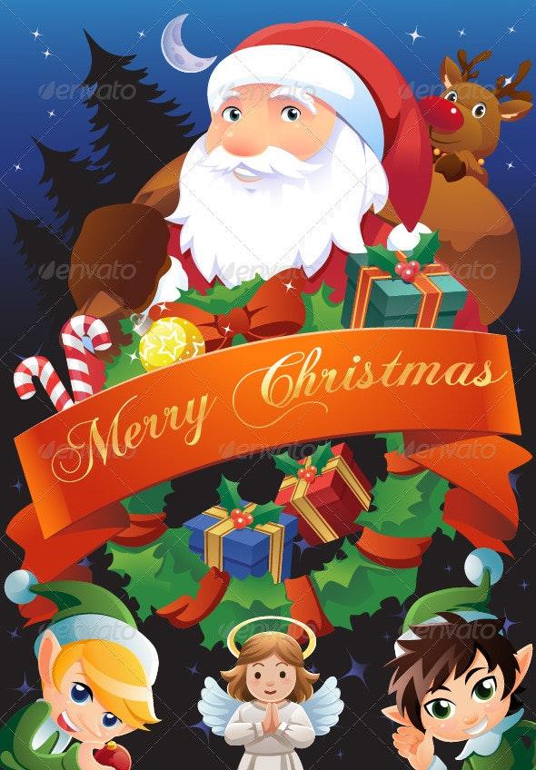 Christmas Illustration for Card, Flier or Poster - Christmas Seasons/Holidays