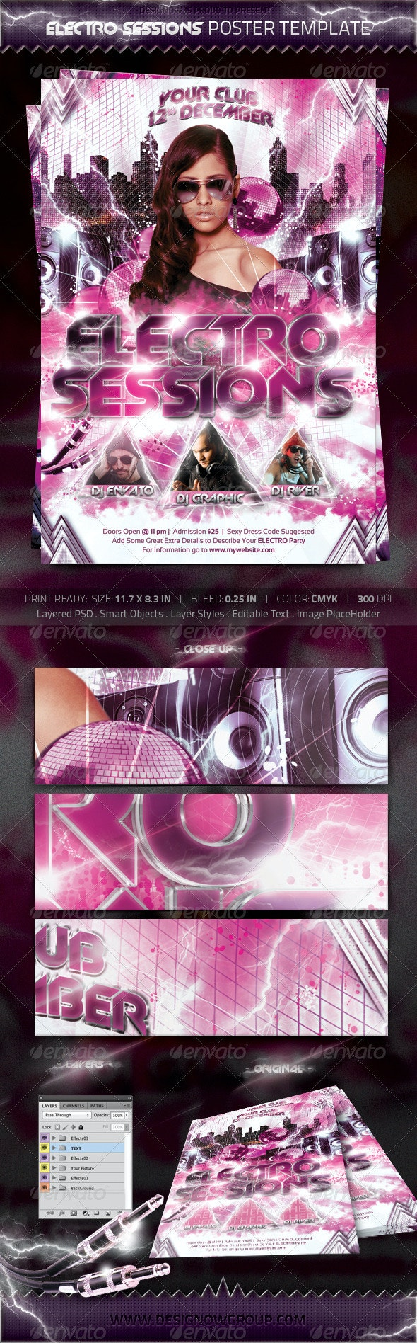 Electronic Sessions Poster Template - Clubs & Parties Events