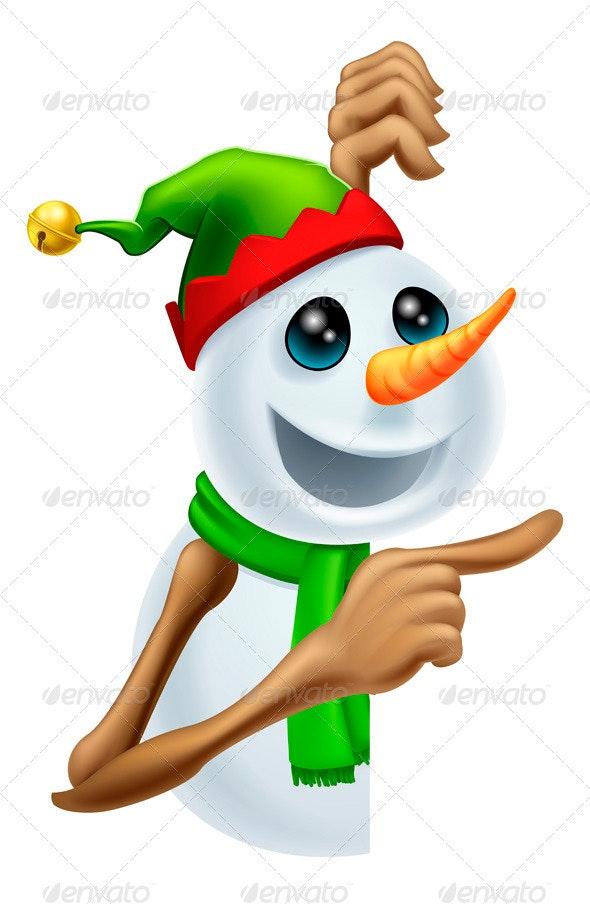 Christmas Snowman Pointing - Christmas Seasons/Holidays