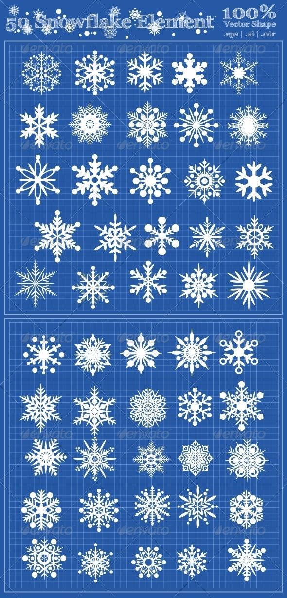 50 Snowflake Element - Seasons/Holidays Conceptual