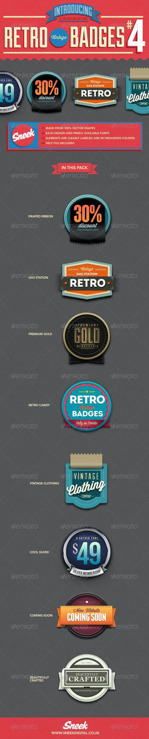 8 Retro Vintage Badges #4 - Badges & Stickers Web Elements