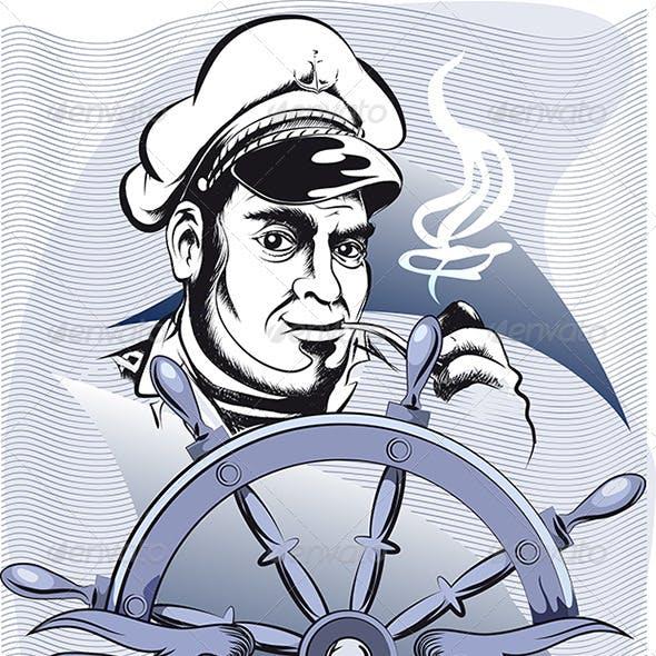 Captain Behid the Wheel