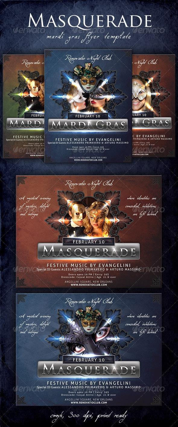 Masquerade - Mardi Gras Flyer Template - Holidays Events