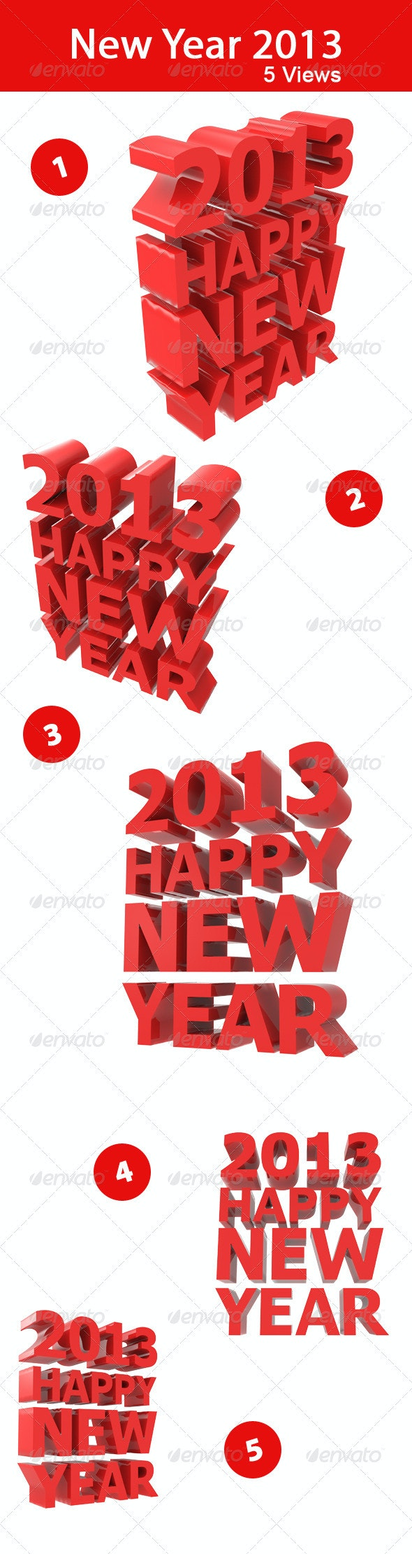 New Year 2013 - Text 3D Renders