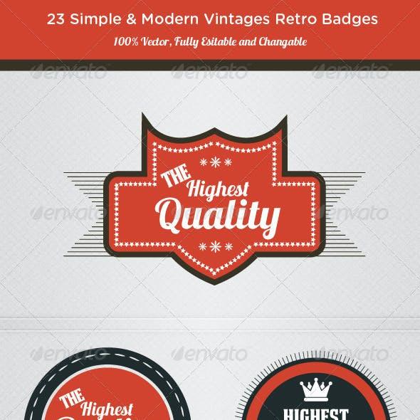 Highest Quality - Retro Badges