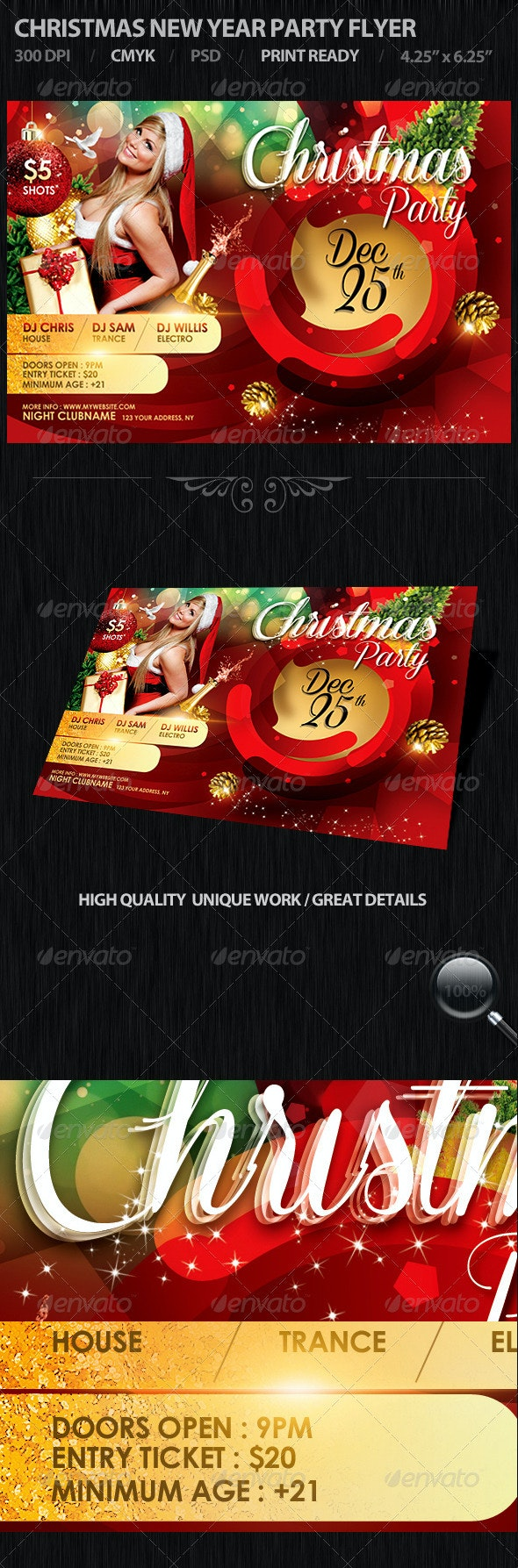Christmas New Year Party Flyer - Holidays Events