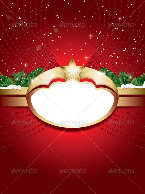 Christmas Background with Blank Label - Christmas Seasons/Holidays