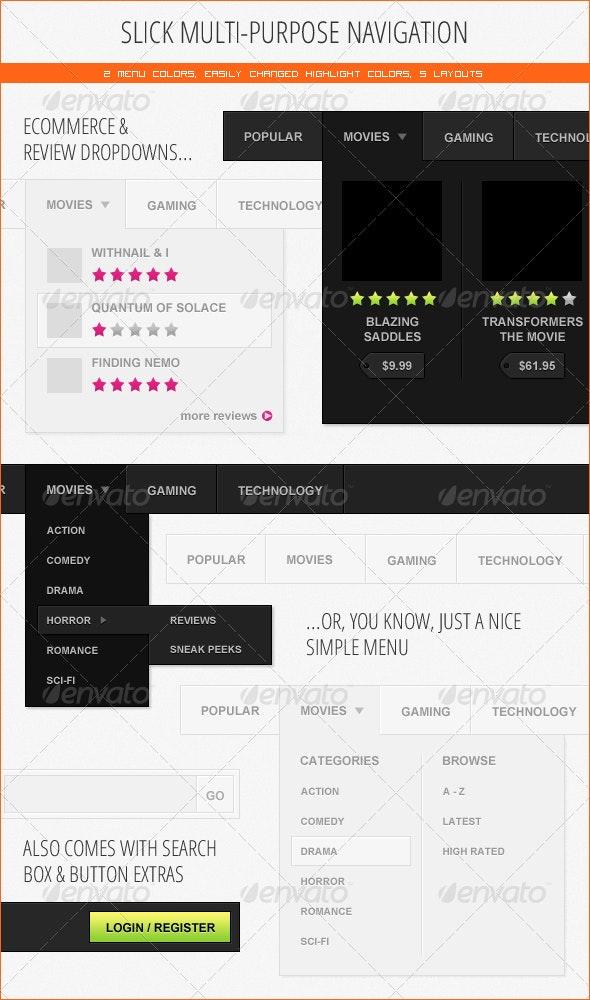 Multi-Purpose Light & Dark Navigation - Navigation Bars Web Elements
