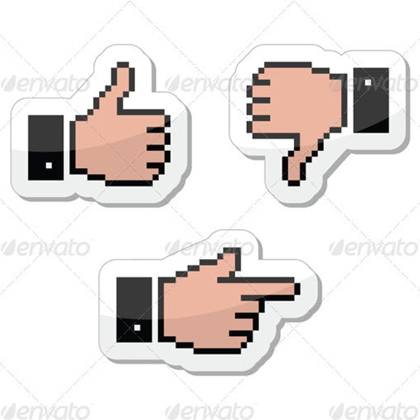 Pixel Cursor Icons - Thumb Up, Like It, Pointing