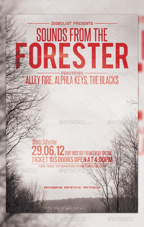 Forester Flyer Template Design - Clubs & Parties Events