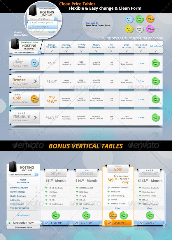 Clean Price Tables !!!  - Tables Web Elements