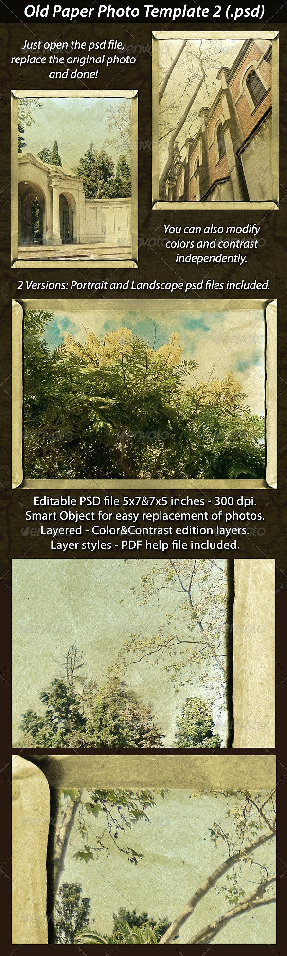 Old Paper Photo Template 2 - Photo Templates Graphics
