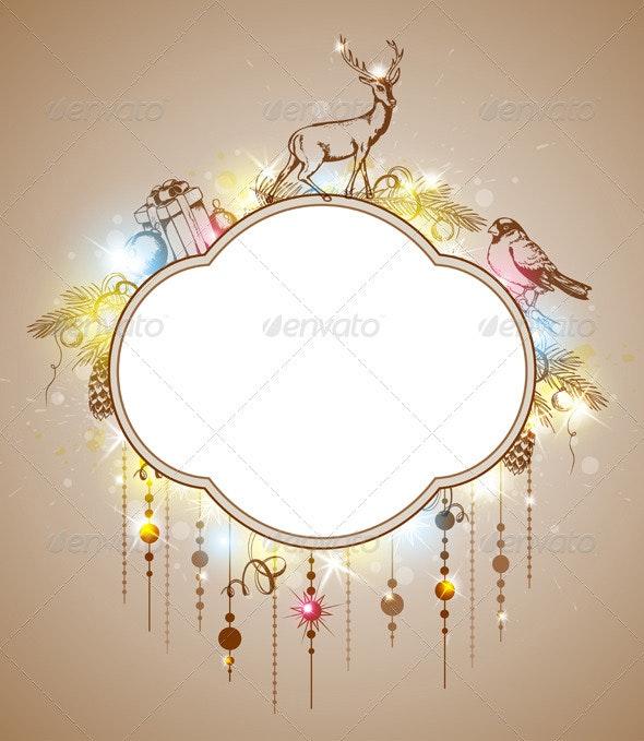 Christmas Label with Decorations - Christmas Seasons/Holidays